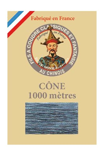 Fil Au Chinois polyester metallized sewing thread - 1000m cone n°190 Grey