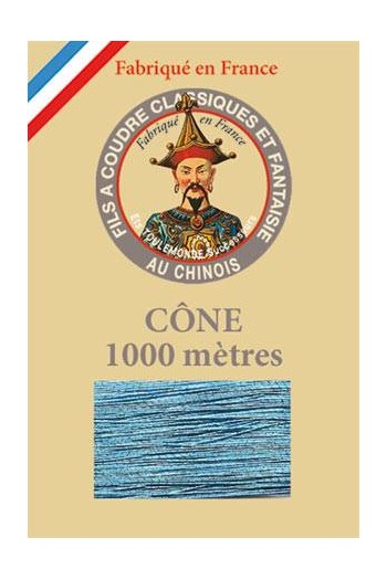 Fil Au Chinois polyester metallized sewing thread - 1000m cone n°222 Ocean