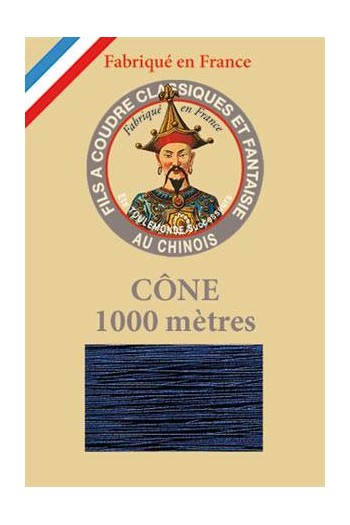 Fil Au Chinois polyester metallized sewing thread - 1000m cone n°265 Navy blue