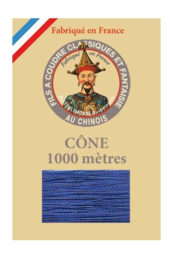 Fil Au Chinois polyester metallized sewing thread - 1000m cone n°240 Pure blue