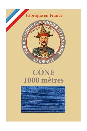 Fil Au Chinois polyester metallized sewing thread - 1000m cone n°280 Turquoise