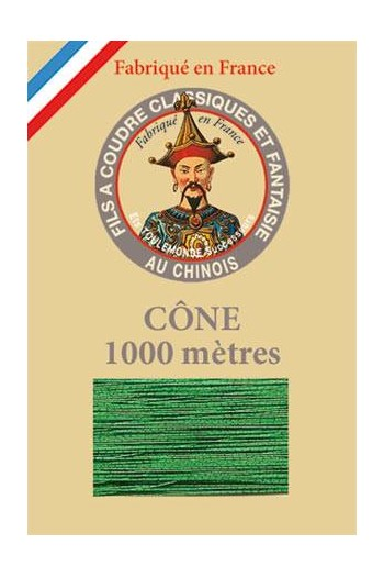 Fil Au Chinois polyester metallized sewing thread - 1000m cone n°300 Lawn