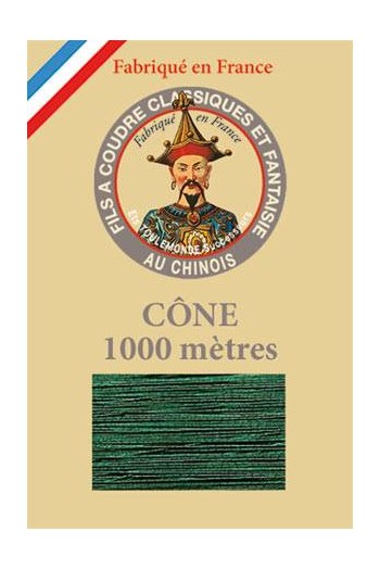 Fil Au Chinois polyester metallized sewing thread - 1000m cone n°270 Pine