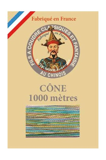 Fil Au Chinois polyester metallized sewing thread - 1000m cone n°182 Harlequin