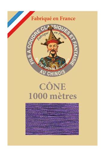 Fil Au Chinois polyester metallized sewing thread - 1000m cone n°155 Violet
