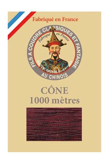 Fil Au Chinois polyester metallized sewing thread - 1000m cone n°255 Burgundy