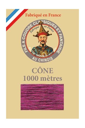 Fil Au Chinois polyester metallized sewing thread - 1000m cone n°235 Fuchsia