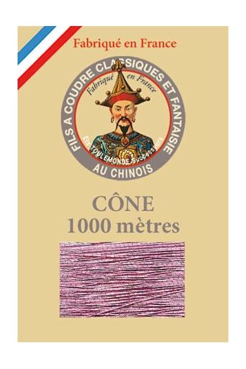 Fil Au Chinois polyester metallized sewing thread - 1000m cone n°282 Pink