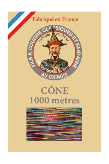 Fil Au Chinois polyester metallized sewing thread - 1000m cone n°205 Tuttifrutti