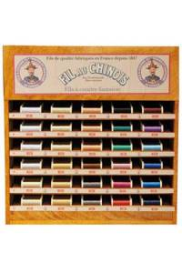 Fil Au Chinois sewing thread display with 30 metallized thread spools - 100m