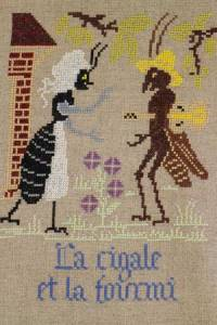 La Fontaine's Fable The Cicada and the Ant embroidered in full colour