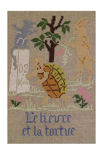 La Fontaine's Fable The Hare and the Tortoise embroidered in full colour