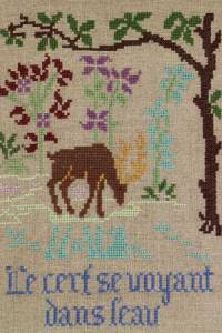 La Fontaine's Fable The Stag seing himself in the water embroidered in full colour