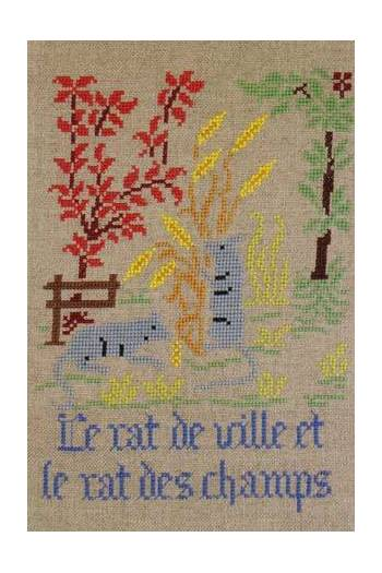 La Fontaine's Fable The Town Rat and the Country Rat embroidered in full colour