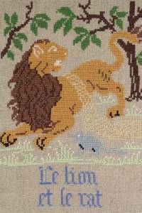 La Fontaine's Fable The Lion and the Rat embroidered in full colour