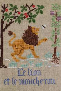La Fontaine's Fable The Lion and the Gnat embroidered in full colour