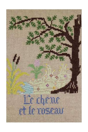 La Fontaine's Fable The Oak and the Reed   embroidered in full colour