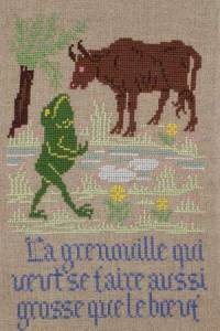 La Fontaine's Fable The Frog and the Ox   embroidered in full colour