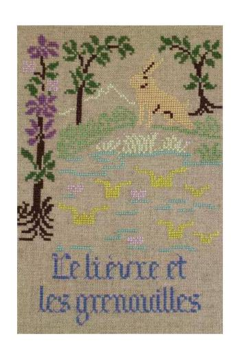 La Fontaine's Fable The Hare and the Frogs embroidered in full colour