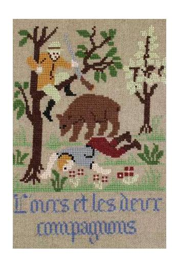 La Fontaine's Fable The Bear and the two Companions embroidered in full colour