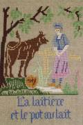 La Fontaine's Fable The Milkmaid and the Urn  embroidered in full colour