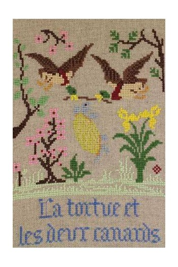 La Fontaine's Fable The Tortoise and the two Ducks embroidered in full colour