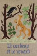 La Fontaine's Fable The Crow and the Fox embroidered in full colour