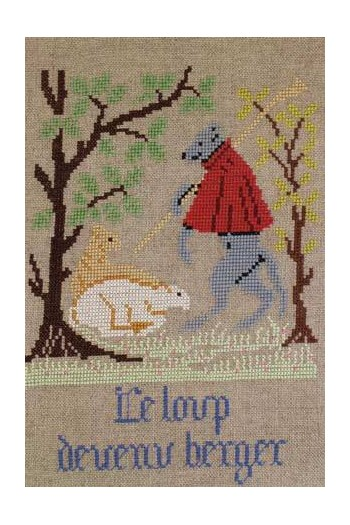 La Fontaine's Fable The Wolf who became a Shepherd embroidered in full colour