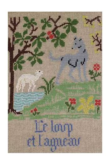 La Fontaine's Fable The Wolf and the Lamb embroidered in full colour