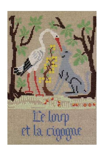 La Fontaine's Fable The Wolf and the Stork embroidered in full colour