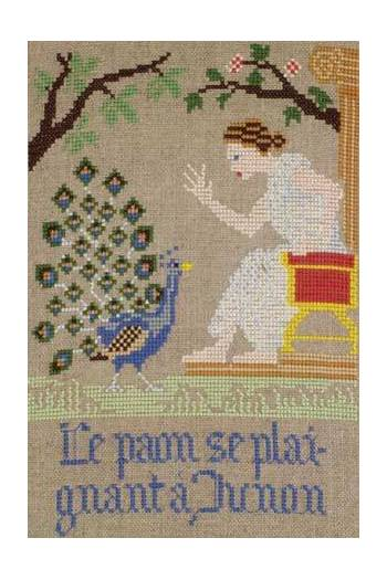 La Fontaine's Fable The Peacock complaining to Juno embroidered in full colour