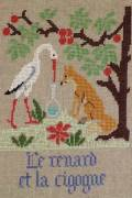 La Fontaine's Fable The Fox and the Stork embroidered in full colour