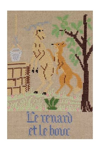 La Fontaine's Fable The Fox and the Goat embroidered in full colour