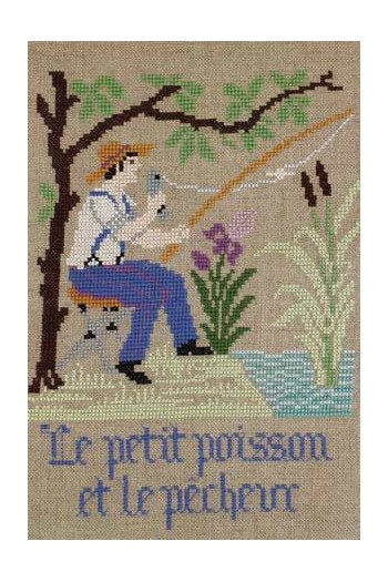 La Fontaine's Fable The little Fish and the Fisherman embroidered in full colour