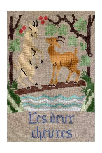 La Fontaine's Fable The two Goats embroidered in full colour