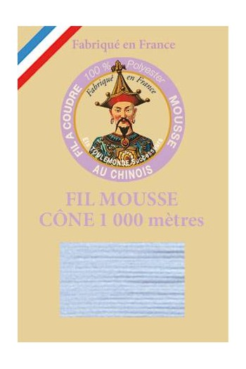 Fil Au Chinois polyester overlock thread 1000m cone Col. 2074 Sky blue