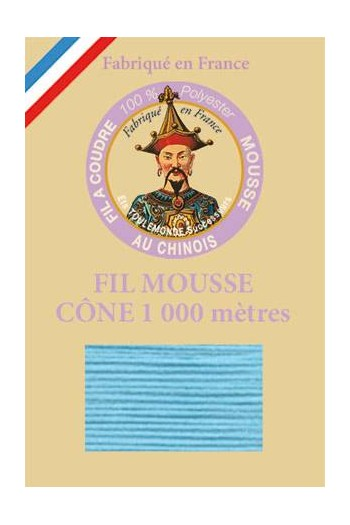 Fil Au Chinois polyester overlock thread 1000m cone Col. 2458 Azure