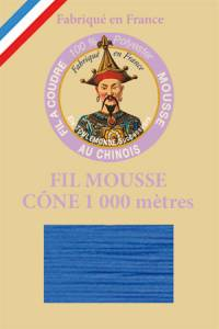 Fil Au Chinois polyester overlock thread 1000m cone Col. 2001 Bright blue
