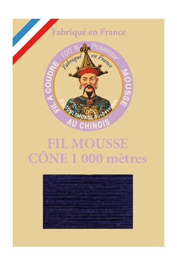 Fil mousse polyester Fil Au Chinois cône 1 000 m Col. 2985 Marine