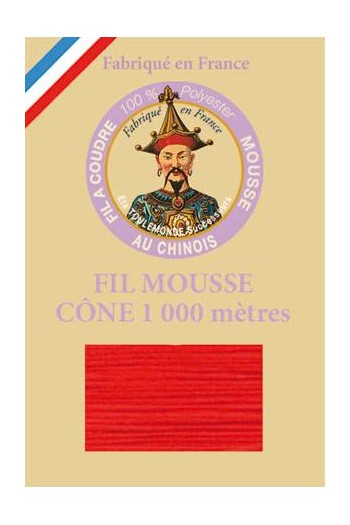 Fil mousse polyester Fil Au Chinois cône 1 000 m Col. 2037 Rouge