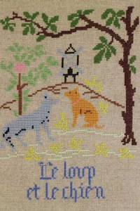 La Fontaine's Fable The Wolf and the Dog embroidered in full colour