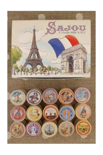 Sajou box of fifteen small wooden bobbins with labels