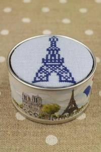Sajou Cross stitch kit box to embroider Eiffel Tower blue