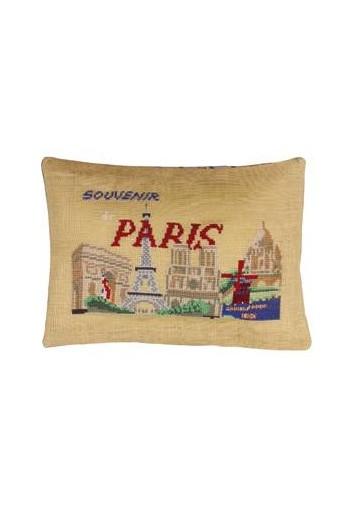 Sajou-Kreuzstichpackung Kissen Ansicht von Paris auf Leinen in der Farbe Tee