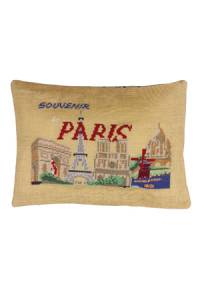 Sajou Vue de Paris cross stitch cushion kit on tea-coloured linen
