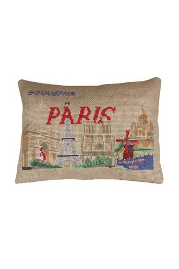 Sajou Vue de Paris cross stitch cushion kit on natural linen Aïda