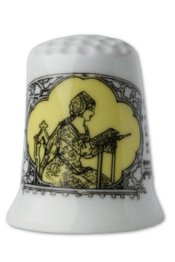 White porcelain thimble Embroiderer yellow
