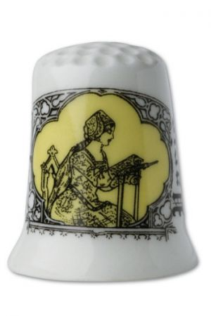 Dé de collection porcelaine blanche Brodeuse Sajou jaune