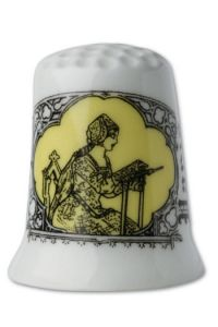 Fine white porcelain collectors thimble Embroiderer - yellow