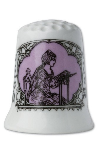 Fine white porcelain collectors thimble Embroiderer - mauve